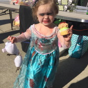 Little Elsa Zombie with her decapitated Olaf!